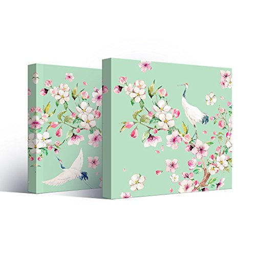 2 Panel Square Watercolor Style Painting of Cranes and Flowers on Light Green Background x 2 Panels