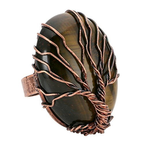 Top Plaza Handmade Retro Vintage Copper Wire Wrapped Tree of Life Oval Tiger Eye Stone Healing Crystal Adjustable Ring Bronze Band Size 6 7 8