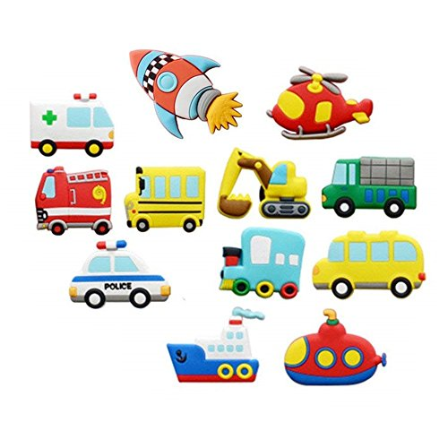 Koolemon 12pcs/lot Vehicles Car Fridge Magnets Whiteboard Sticker Rubber Refrigerator Magnets for Home Decoration Educational Kids Gift ()