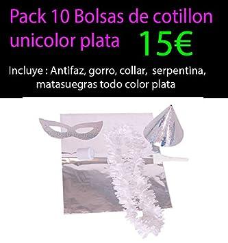 Pack 10 bolsas de cotillon plata unicolor metalizada: Amazon ...