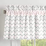 Carousel Designs Pink and Gray Chevron Window Valance Rod Pocket