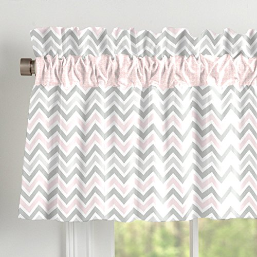 Carousel Designs Pink and Gray Chevron Window Valance Rod Pocket by Carousel Designs