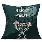 PENGYGY Happy Halloween Pillow Cases Linen Sofa Cushion Cover Home Decor Cartoons Sofa Car Decoration (H)