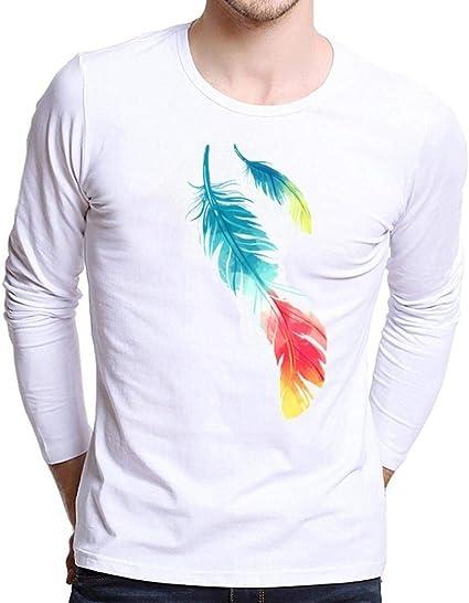 Camisas De Manga Larga Slim Hombre para Fit Modernas Casual Estampado De Moda con Cuello Redondo Camisetas Camiseta con Cuello En V Sudadera con Capucha Camiseta: Amazon.es: Ropa y accesorios