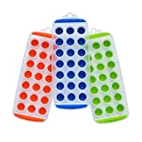 Pack of 3 Silicone Mini Ice Cube Tray with Easy Push Pop Out By Tzipco