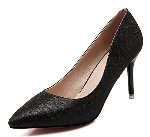 CHFSO Womens Elegant Stiletto Solid Sequins Pointed Toe Slip On Low Top High Heel Wedding Pumps Black Su1kf