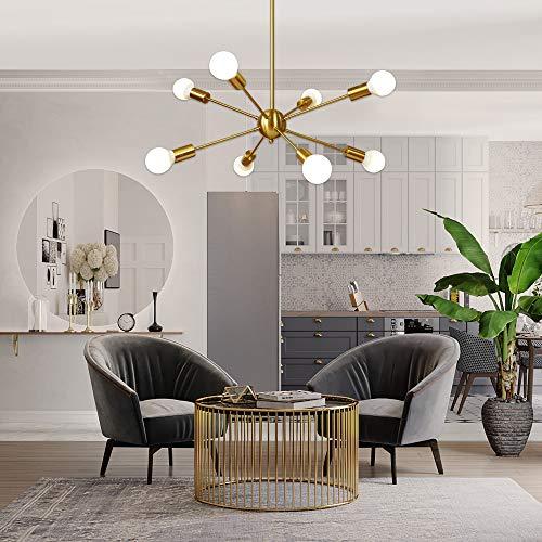 Sputnik Chandelier 8 Light Brushed Brass Pendant Lighting Gold Mid Century Modern Starburst-Style Ceiling Lighting Fixture for Dining Room Kitchen Bedroom Foyer by VINLUZ by VINLUZ (Image #4)
