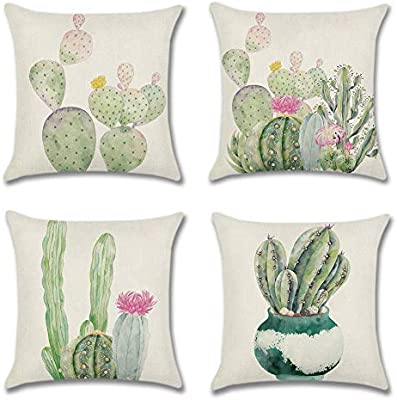 Artscope Set of 4 Throw Pillow Covers 18 x 18 Inches Cushion Cover Farmhouse Decorative Pillow Cover for Sofa Car Bedroom Living Room (Cactus)