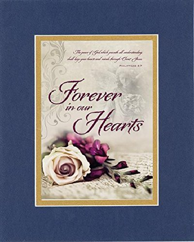 Heart Poem Mat - GoodOldSaying - Poem for Love and Marriage - Forever in Our Hearts on 8x10 Biblical Verse set in Double Mat (Blue On Gold) - A Priceless Poetry Keepsake Collection