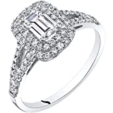 14K White Gold Emerald Cut Engagement Ring Size 5
