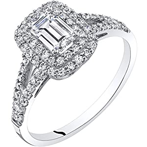 Peora 14K White Gold Emerald Cut Engagement Ring Sizes 4-10