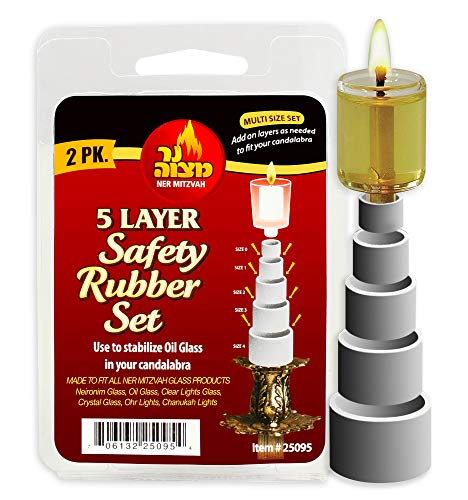 Ner Mitzvah Safety Rubber Set for Oil Candle Cups - 5 Layer - 2 Pack - use in Canadlabras, Oil Menorahs