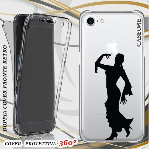 CUSTODIA COVER CASE FLAMENCO DONNA BALLO PER IPHONE 7 FRONT BACK TRASPARENTE
