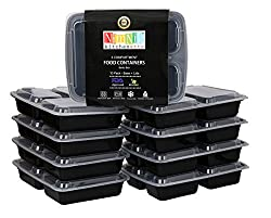 NimNik Kitchenette Microwave Safe Plastic Stackable Reusable Bento Lunch Box with Lids - 10 Pack
