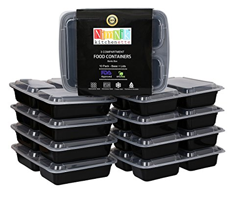 Lunch Snack Plate - 3 Compartment Meal Prep Containers - Divided Lunch Containers Reusable 10 Pack