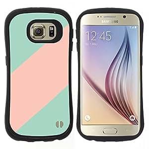 """Hypernova Slim Fit Dual Barniz Protector Caso Case Funda Para Samsung Galaxy S6 [Rosa en colores pastel líneas modelo Colores""""]"""