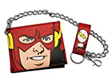 DC Comics Men's Flash Bi Fold Wallet with Chain, Red, One Size