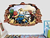 Lego Ninjago Group 3D Sticker Wall Decal Smashed Vinyl Decor Mural Movie- Broken Wall - 3D Designs - AL49 (Small (Wide 22'' x 16'' Height))
