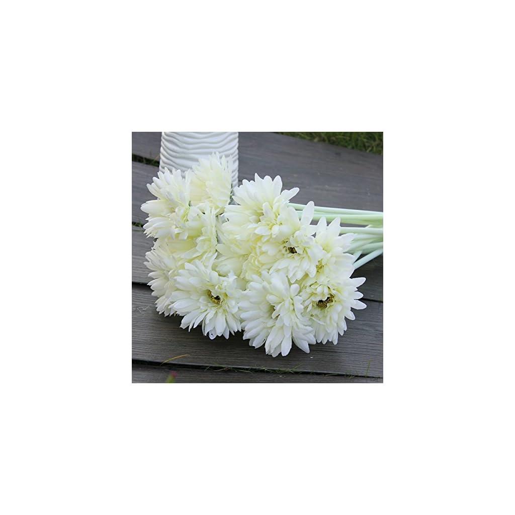 10Pcs-Sunbeam-Artificial-Flower-Mum-Gerber-Daisy-Bridal-Bouquet-Silk-Wedding-Party-FlowersWhite