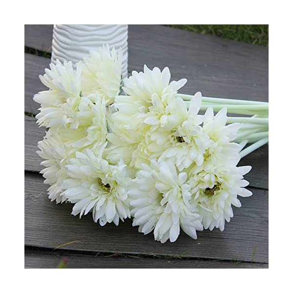 10Pcs-Sunbeam-Artificial-Flower-Mum-Gerber-Daisy-Bridal-Bouquet-Silk-Wedding-Party-FlowersWhite
