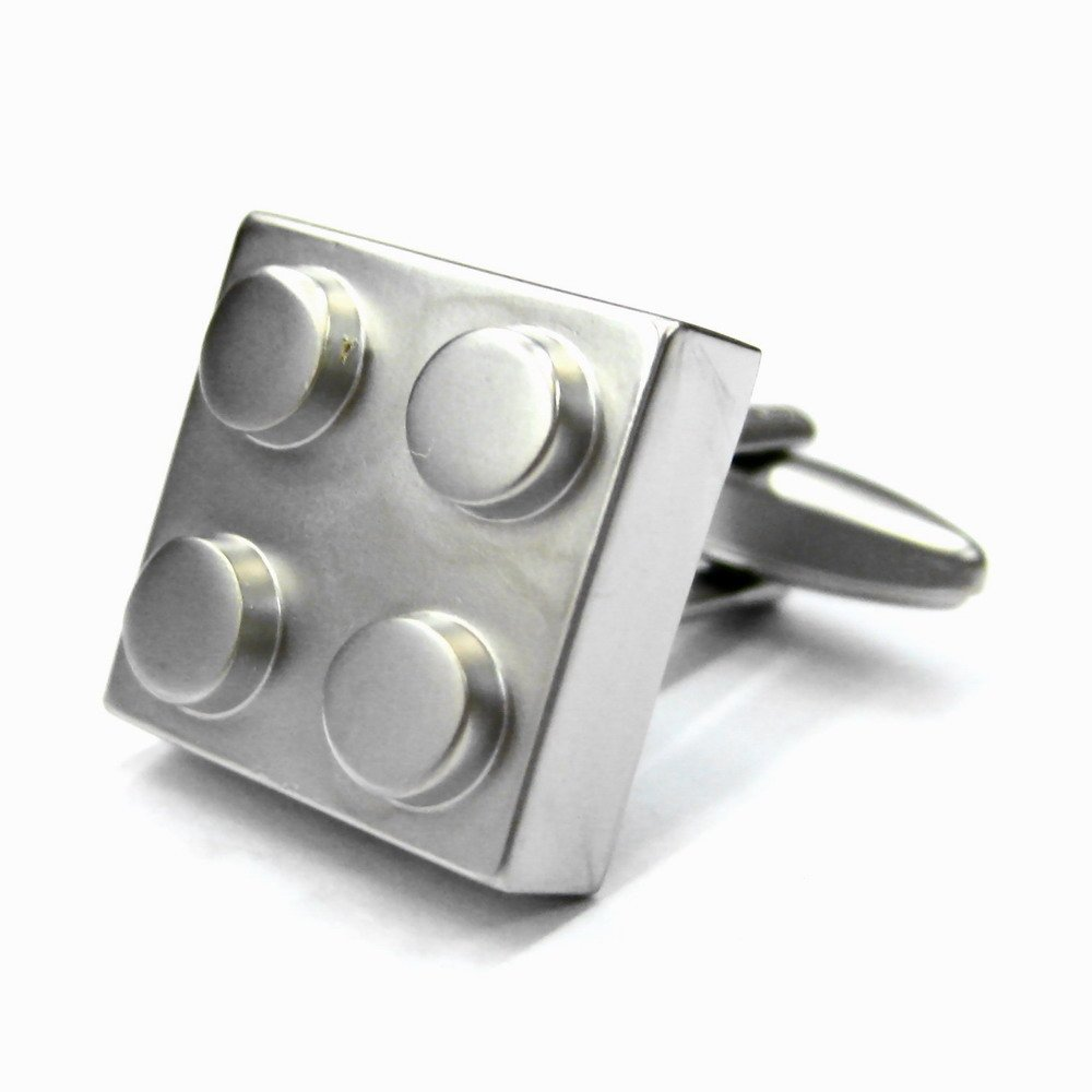 Tailor B Silver Lego Cufflinks 4 Blocks Building Blocks Cuff Links Games Gemelos 011152-1