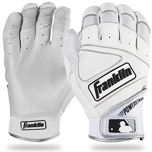 Franklin Sports MLB Powerstrap Batting Gloves, Pearl/White - Adult Large