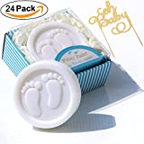 Cutest Handmade Blue Pitter Patter Soap Favors Exquisite Gift Packaging for Baby Boy Baby Shower Favors (24 Pack)