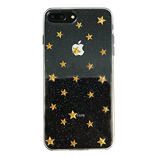 lus / iPhone 8 Plus Cute Case, Glitter Sparkle Phone Case for girls with 3D Stars [ Slim Fit, Clear, Full Protective Cover ] for iPhone 7Plus / 8Plus 5.5 Inch (Transparent) ()