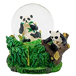 Bamboo Panda 3 x 3 Miniature Resin Stone 45MM Water Globe Table Top Figurine