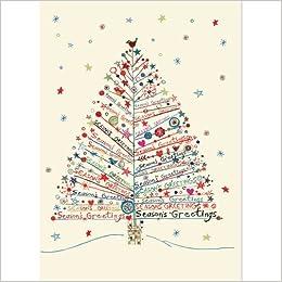 Christmas Greetings Card.Season S Greetings Tree Large Boxed Holiday Cards Christmas