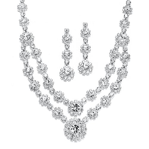 Prom Necklace Set - Mariell Regal Silver 2 Row Rhinestone Crystal Necklace and Earrings Set for Prom, Brides and Bridesmaids