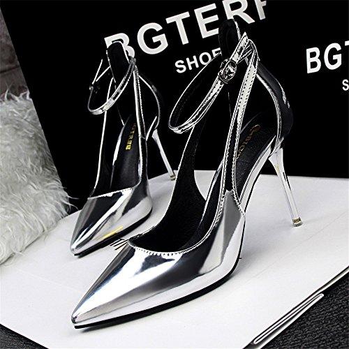 z&dw Elegantes tacones altos sencillos con una boca poco profunda con zapatos huecos puntiagudos Plata