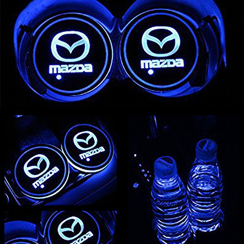 JiangJing Led Car Cup Holder Mat Pad Waterproof Bottle Drinks Coaster Built-in Vibration Automatically Turn On at Dark Universal 7-Color Light 2-Packs For Mazda