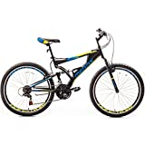 Merax Falcon Full Suspension Mountain Bike Aluminum Frame 21-Speed 26-inch Bicycle (Black and Blue)