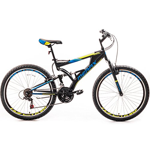 Merax Falcon Full Suspension Mountain Bike Aluminum Frame 21-Speed 26-inch Bicycle (Black and Blue) Aluminum Mountain Bike Frame