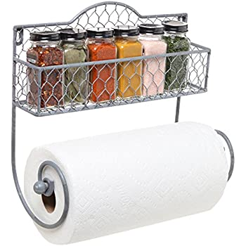 Amazon Com Wall Mounted Rustic Gray Metal Kitchen Spice