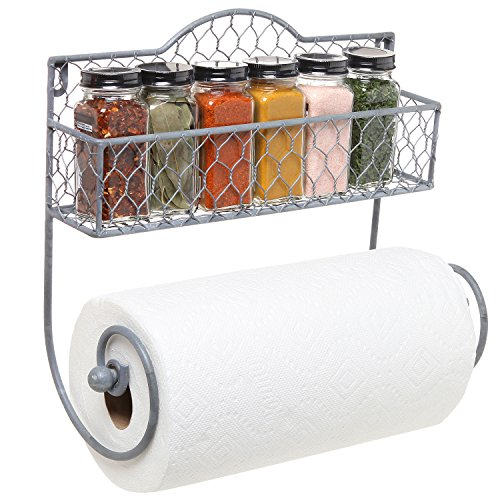 Wall Mounted Rustic Gray Metal Kitchen Spice Rack & Paper Towel Holder / Bathroom Basket & Towel Bar (Holder Towel Paper Grey)