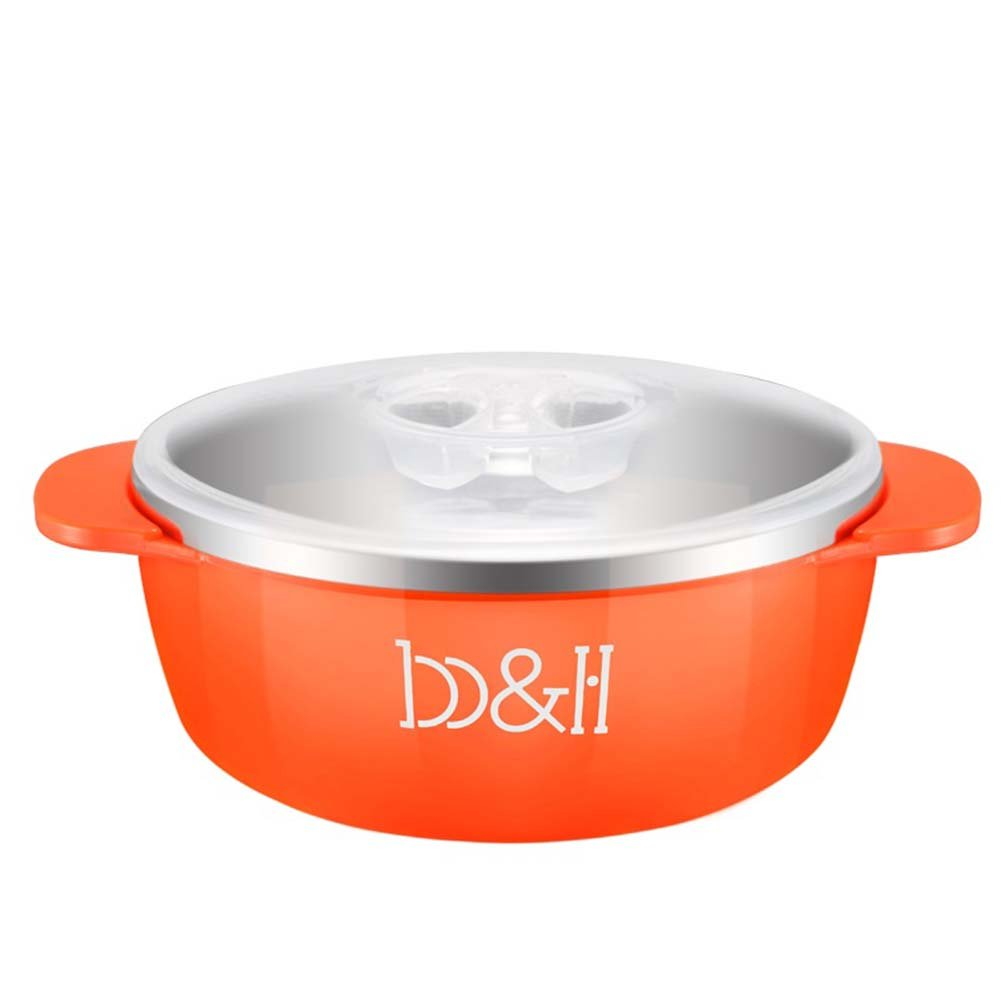 B&H Baby Stainless Steel Bowl Hot Safety Nonslip Base for Babies Infants with Handles and Lids (Orange)