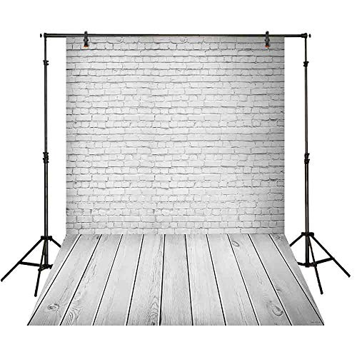 Funnytree 5x7ft Thin Vinyl Photography Background Backdrops Pure White Brick Wall Board Child Baby Shower Photo Studio Prop Photobooth Photoshoot