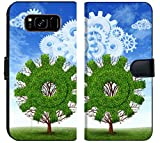 Liili Samsung Galaxy S8 PlusPlus Flip Micro Fabric Wallet Case Cloud computing growth and the future of virtual storage and internet based remote desktop illustrated by t