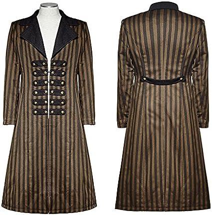 Manteau long marron rayé élégant retro steampunk vintage