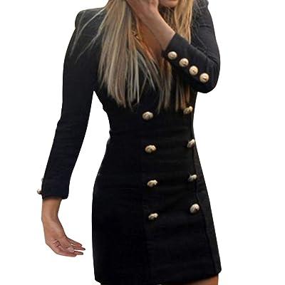 Zolimx Kleid Frauen Slim Lange Ärmel Knöpfe Beiläufiges Bodycon Cocktail Lässiges Rockabilly Minikleid Abendkleid