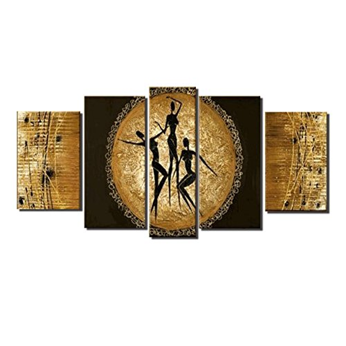 5 Piece Set African People Dance Yellow Moon Wall Art Oil Painting Living Room Bedroom Modern Abstract Homemade New Design Canvas Artwork Stretched Wood Framed Home Decoration Decor by uLinked Art by uLinked Art