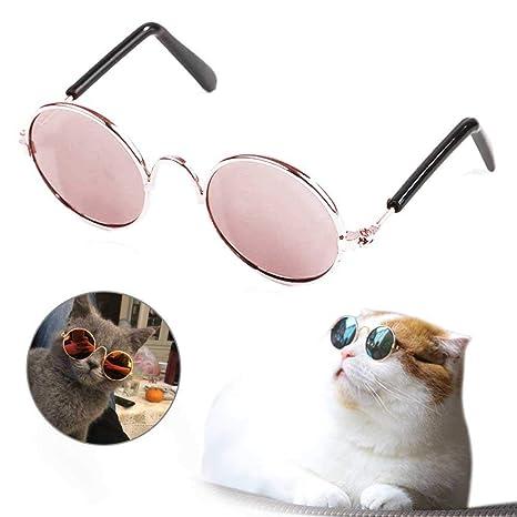 AUOKER Gafas de Sol para Perro, Bonitas y Divertidas Gatos, clásicas, de Metal