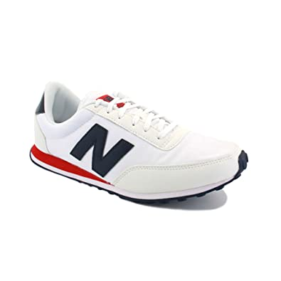546088fa46d41 New Balance 410 U410MKP Mens Suede & Nylon Laced Running Trainers White  Navy Red - 11: Amazon.co.uk: Shoes & Bags