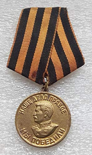 #7 We Won For the Victory over Germany WW II Original USSR Soviet Union Russian military Communist Bolshevik Medal St. George Ribbon