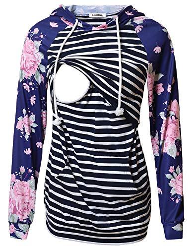 Women's Nursing Hoodie Sweatshirt Long Sleeves Breastfeeding Maternity Tops Casual Clothes with Kangaroo ()