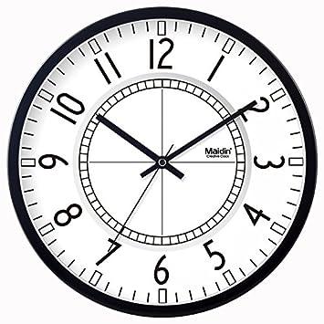 LTYGZ Mirar el Reloj Digital en Blanco y Negro Son Mute salón Reloj de Pared Reloj Reloj Resumen Creativo,40,5 cm,Negro: Amazon.es: Hogar