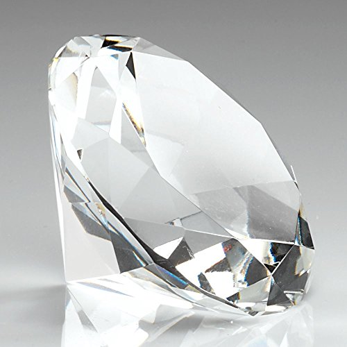 DIA80 Glass Diamond Shaped Paperweight in Box - Clear 3.25in with Engraving (Award Glass Diamond)