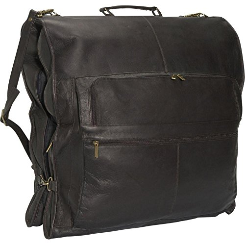 "David King Leather 48"" Deluxe Garment Bag in Cafe"